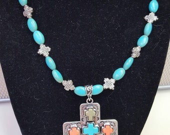 Turquoise and Silver with Cross