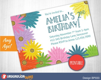 Personalized Daisy Birthday Party Invitation PRINTABLE DIY / Gerbera Daisy Birthday / Flower Party / Printable Invite / Custom Invitation