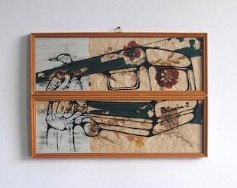 "original art ""blacha-2"", drawing on vintage dryflower picture, art by karo knitter"