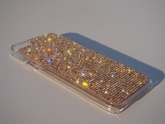 """iPhone 6 / 6s 4.7"""" Rose Gold Rhinstone Crystals on Transparent Clear Case. Velvet/Silk Pouch Included, Genuine Rangsee Crystal Cases."""