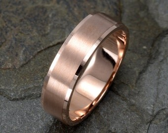 brushed wedding ring 14k solid rose gold wedding band mens wedding ring rose