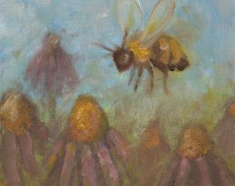 Honeybee and Flower 8x10 Art Print