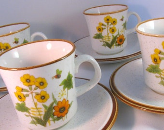 Set of Four Mikasa 1970s Stoneware Cup and Saucer Sets - Natural Beauty - Fresh From the Garden Pattern C 9060