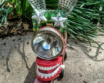 Robot Found Art Steampunk Dog named STARLIGHT STARBRIGHT upcycled canine recycled flashlight by ReNew Bots