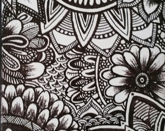 5x7 zentangle on canvas