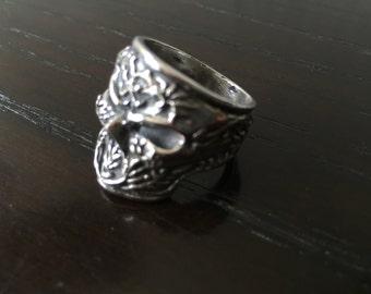 Mens .925 Sterling silver crazy Skull ring  handmade.