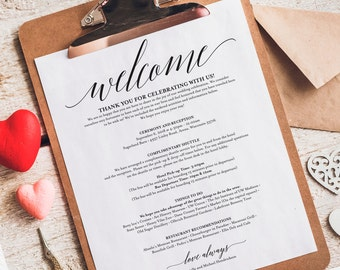 Wedding Itinerary, Welcome Bag, Printable Itinerary, Welcome Letter, Wedding Favor, Wedding Printable, PDF Instant Download #BPB310_53