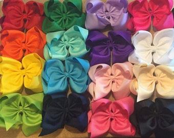 """Hair Bows - Basic Hair Bows - Hair Bow Bundle - Boutique Hair Bows - Solid Color Hair Bow - 6"""" Hair bow - Southern Hair Bow - Big Bow - bows"""