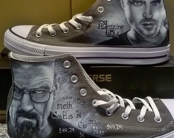 Breaking Bad Custom hand painted Converse shoes , hand painted shoes , hand painted Breaking Bad shoes