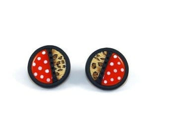 Red earrings white polka (polka dot), leopard and black style retro pin up