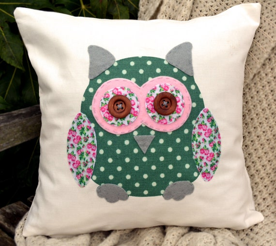 """Owl Cushion - Green Polka Dot, Pink & Cute Flowers """"The Owls of Hoot"""" Collection, Tamsin Reed Designs"""