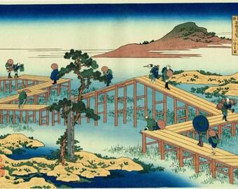 "Japanese Ukiyo-e Woodblock print, Hokusai, ""Old View of the Eight-part Bridge at Yatsuhashi in Mikawa Province"""