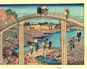"Japanese Ukiyoe, Woodblock print, Katsushika Hokusai, ""Mt.fuji as seen from the seven bridges"""
