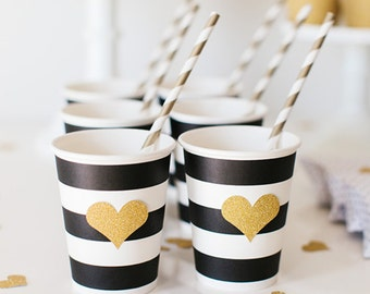 Black & White Striped Paper Party Cups with Gold Glitter Heart  + Gold Straws - Set of 12