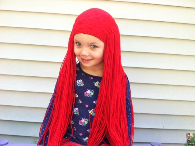 Long red wig Girls Halloween Sally wig Cosplay children