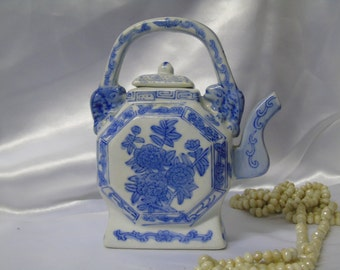 Blue and White Chinese Teapot with floral design