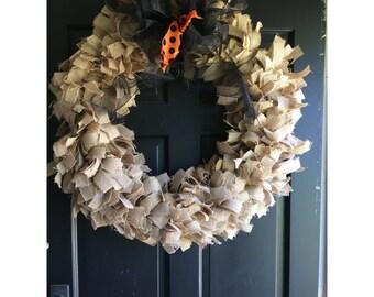 Burlap Wreath With Orange and Black Ribbon
