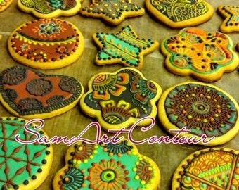 Henna cookies - Mehndi Favor, Wedding Favor, Party Favor