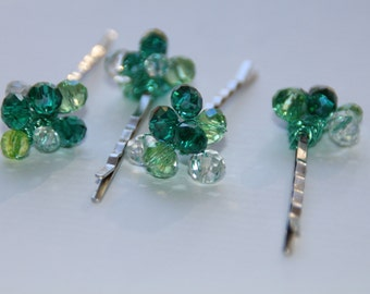 Green crystal  hair pins