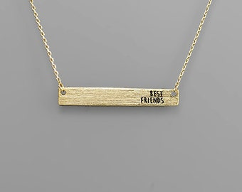 Gold Best Friends Bar Necklace