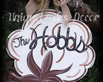 Cotton Door Hanger, Door Hanger, Fall Door Hanger