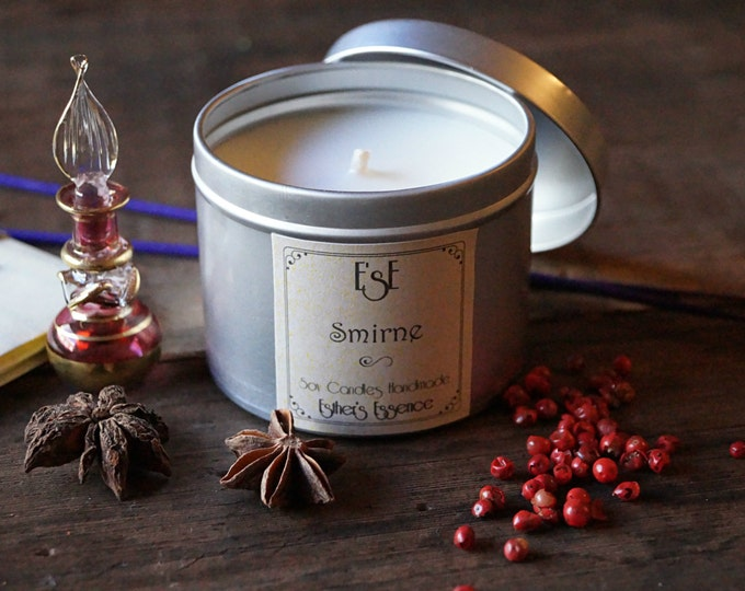 "Soy Candle, Myrrh Frankincense, ""Smirne"" Tin candle, Aromatherapy, Spiced scent, Luxury candle, Soy wax, Wedding favor, Gift for him"