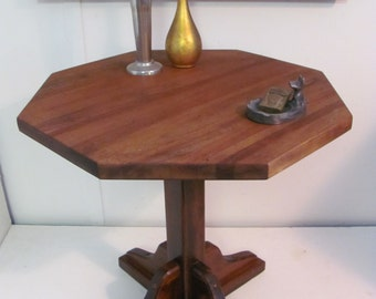 Rustic Octagonal Top Pedestal Accent End Table