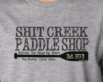 Shit Creek Paddle Company Tee Shirt Funny Humor Band Geek Jock College Frat Boy Throw Back