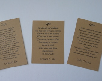 50 Wishing Well/Wedding Poem Cards requesting money vouchers  Choice of 3 Poems Kraft Card