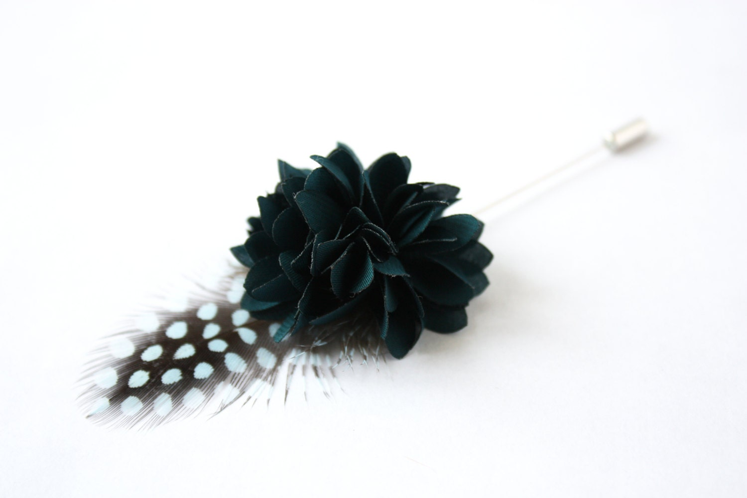 Flower and Feather Lapel Pin Wedding Boutonniere by TheGreyDeer