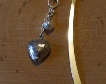 Heart Bookmark, Pearl Bookmark, Silver Bookmark, Metal Bookmark, Bead Bookmark