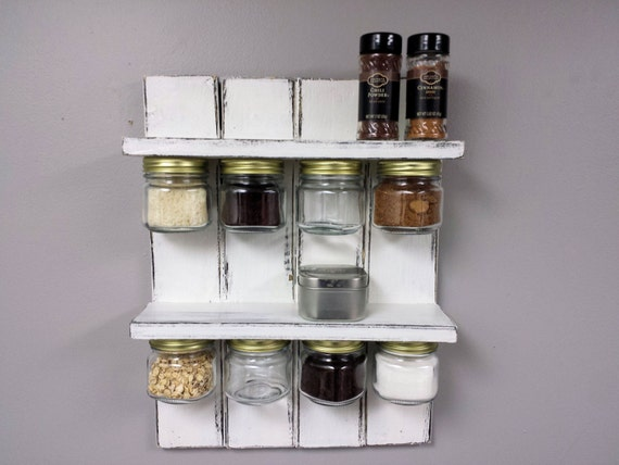 rustic spice rack and mason jar organizer by recycledtrees. Black Bedroom Furniture Sets. Home Design Ideas