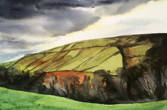 Yorkshire, West Yorkshire, English hills, English landscape, watercolor landscape, England, English countryside, stormy fields, English art