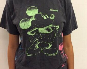 Neon Multicolored Mickey Mouse Tshirt Size Medium