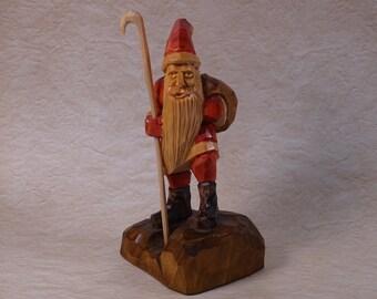 Hand-Carved Wooden Santa