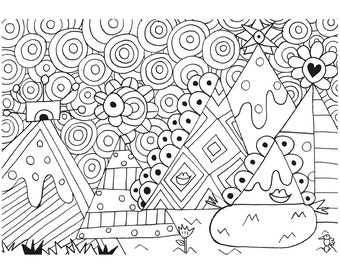 Mountains ! Printable colouring Page