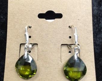 Sterling silver .925, Swarovski crystals olive green earrings .