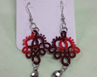 Red and Black Tatted Earrings