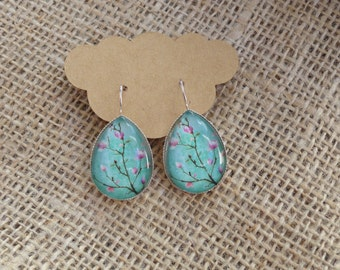 Pink Magnolia Flower Glass Photo Cabochon Earrings