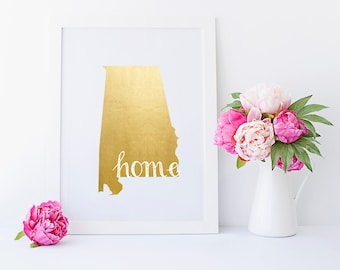 Alabama Home State Collection Foil Pressed Print {5x7}