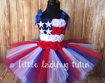 American Flag Tulle Tutu Dress. Pageants, parades, July 4th, Memorial Day, Military, Homecomings, patriotic events.
