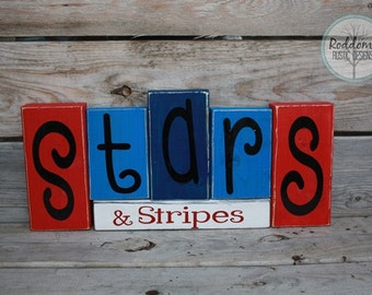 Fourth of July -Stars and Stipes - American Decor- Red White and Blue - Stacking wood blocks - Patriotic Decor