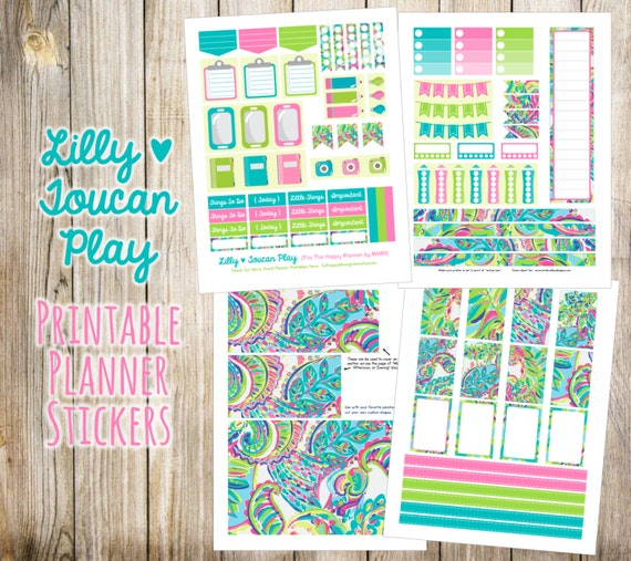 Lilly - Toucan Play Printable Planner Stickers - 4 Full Pages!  Made to fit The Happy Planner by MAMBI - Create 365