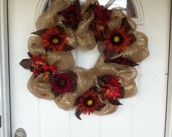 Fall Colored Deco Mesh Beautiful Wreath