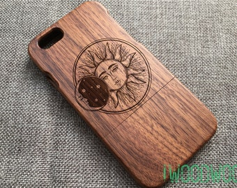 Sun and moon custom iphone 6s case, iphone 5s case wood, wood iphone 6 case,iphone 7 cover, iphone 6s plus case wooden,iphone 5s case