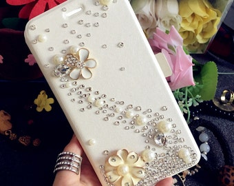New Flip Slot Cards Holder Flowers Wallet Leather Pearls Bling Lovely Fashion Crystals Rhinestones Diamonds Gems Cover Case for Mobile Phone