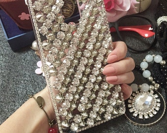 Unique Bling Silver Rivets Spikes Studs Studded Sparkles Gems Crystals Rhinestones Diamonds Fashion Lovely Hard Cover Case for Mobile Phone
