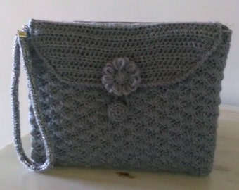 Clutch bag wrist-pearl gray with chain...