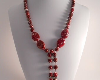 Necklace – Acrylic Red and Gold Beads, Rhinestone Rondels, Rhinestone Spacer Bars (Any Time WID15116N)