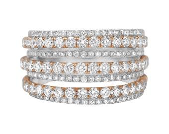 18 Karat Two-Tone Gold Diamond Ring (2 CTW)